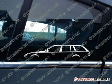 2x Car Silhouette sticker - BMW e39 5-series Touring estate wagon (1996-2004) 530d, 525i, 520i, 530i